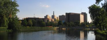 Downtown skyline from the Flint River