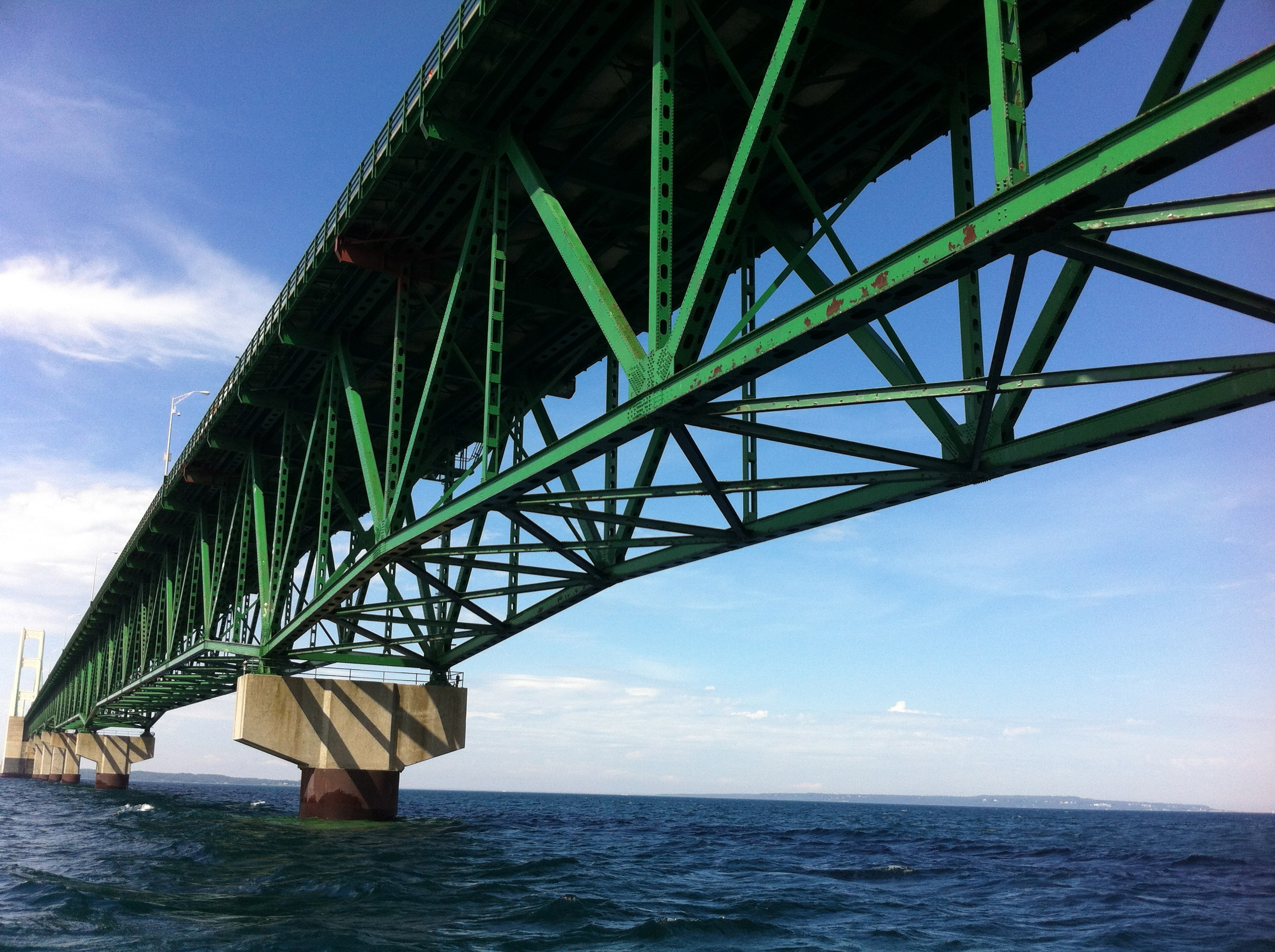 Mackinac Bridge from Straits of Mackinac during tour on the Straits Area Tour - Photo courtesy of Gregory Varnum via Wikimedia Commons