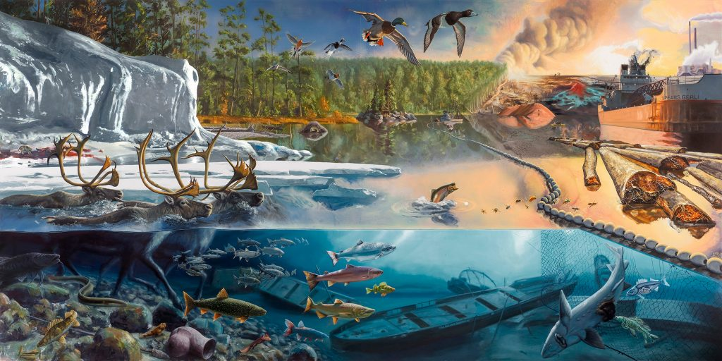 1.Cascade, 2015. Oil and alkyd on wood panel, 72 x 144 inches. Commissioned by Grand Rapids Art Museum with funds provided by Peter Wege, Jim and Mary Nelson, John and Muriel Halick, Mary B. Loupee, and Karl and Patricia Betz. Grand Rapids Art Museum, 2015.19