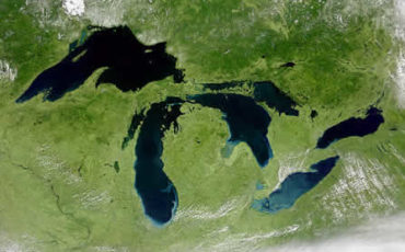 satellite map of Michigan, the Great Lakes