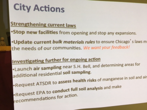 Chicago Department of Public Health posts actions it has taken on air quality on Chicago's Southeast side.Photo by Gary Wilson