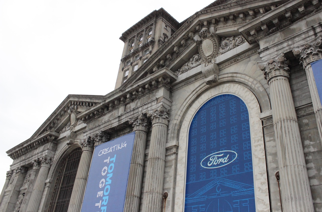 Train station with Ford banners